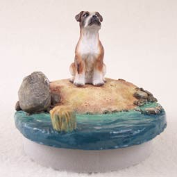 "Boxer Brindle w/Uncropped Ears Candle Topper Tiny One ""A Day on the Beach"""