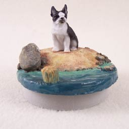 "Boston Terrier Candle Topper Tiny One ""A Day on the Beach"""