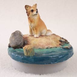 "Chihuahua Longhaired Candle Topper Tiny One ""A Day on the Beach"""