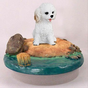 "Cockapoo White Candle Topper Tiny One ""A Day on the Beach"""