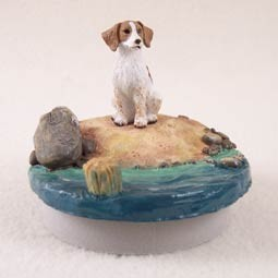 "Brittany Brown & White Spaniel Candle Topper Tiny One ""A Day on the Beach"""