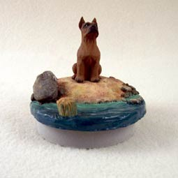 "Boxer Tawny Candle Topper Tiny One ""A Day on the Beach"""