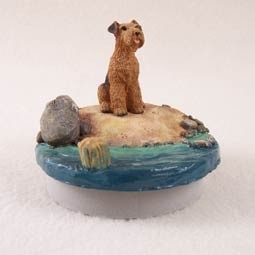 "Airedale Candle Topper Tiny One ""A Day on the Beach"""