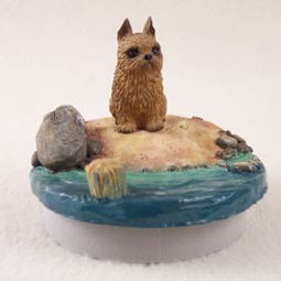 "Brussels Griffon Red Candle Topper Tiny One ""A Day on the Beach"""