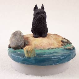 "Brussels Griffon Black Candle Topper Tiny One ""A Day on the Beach"""