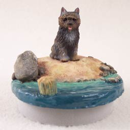 "Cairn Terrier Brindle Candle Topper Tiny One ""A Day on the Beach"""