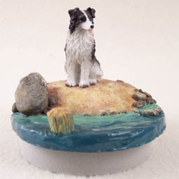 "Border Collie Candle Topper Tiny One ""A Day on the Beach"""