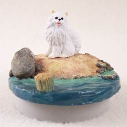 "American Eskimo Miniature Candle Topper Tiny One ""A Day on the Beach"""