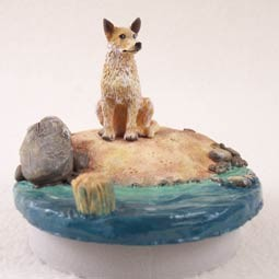 "Australian Cattle Red Dog Candle Topper Tiny One ""A Day on the Beach"""