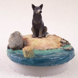 "Australian Cattle BlueDog Candle Topper Tiny One ""A Day on the Beach"""