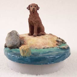 "Chesapeake Bay Retriever Candle Topper Tiny One ""A Day on the Beach"""