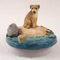 "Border Terrier Candle Topper Tiny One ""A Day on the Beach"""