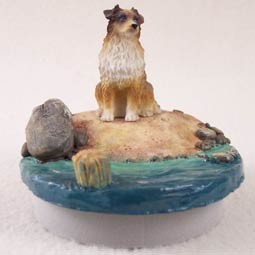 "Australian Shepherd Brown Candle Topper Tiny One ""A Day on the Beach"""