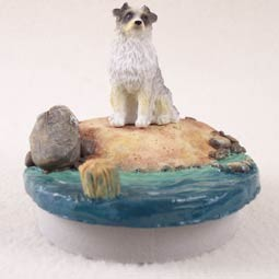 "Australian Shepherd Blue Candle Topper Tiny One ""A Day on the Beach"""