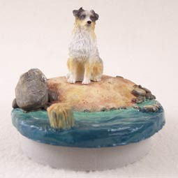 "Australian Shepherd Blue w/Docked Tail Candle Topper Tiny One ""A Day on the Beach"""