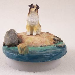 "Australian Shepherd Brown w/Docked Tail Candle Topper Tiny One ""A Day on the Beach"""