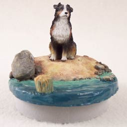 "Australian Shepherd Tricolor w/Docked Tail Candle Topper Tiny One ""A Day on the Beach"""