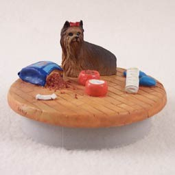 "Yorkshire Terrier Candle Topper Tiny One ""A Day at Home"""