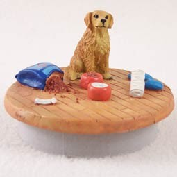 "Golden Retriever Candle Topper Tiny One ""A Day at Home"""