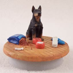 "Doberman Pinscher Black w/Cropped Ears Candle Topper Tiny One ""A Day at Home"""