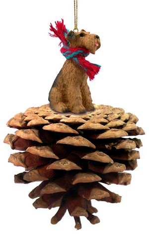 Airedale Pinecone Pet Ornament
