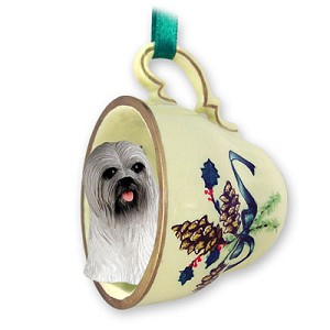 Lhasa Apso Gray Tea Cup Green Holiday Ornament