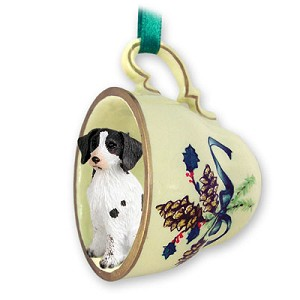 Brittany Liver & White Spaniel Tea Cup Green Holiday Ornament