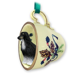 Afghan Black & White Tea Cup Green Holiday Ornament