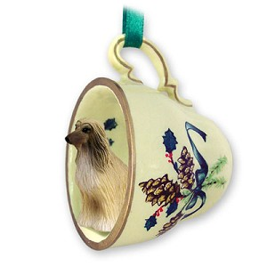 Afghan Tan & White Tea Cup Green Holiday Ornament