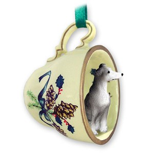 Greyhound Blue Tea Cup Green Holiday Ornament
