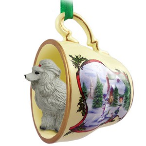 Poodle Gray Tea Cup Snowman Holiday Ornament
