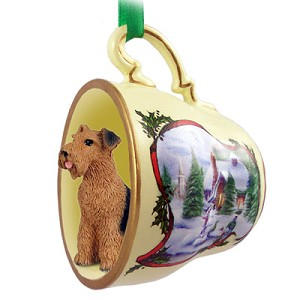 Airedale Tea Cup Snowman Holiday Ornament