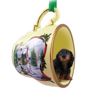 Dachshund Longhaired Black Tea Cup Snowman Holiday Ornament