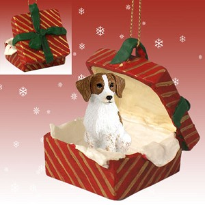 Brittany Brown & White Spaniel Gift Box Red Ornament