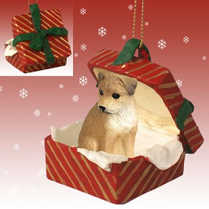 Border Terrier Gift Box Red Ornament