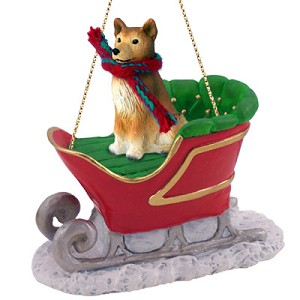 Finnish Spitz Sleigh Ride Ornament