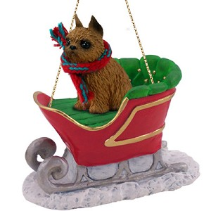 Brussels Griffon Red Sleigh Ride Ornament