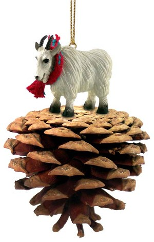 Mountain Goat Pinecone Pet Ornament