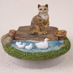 "Brown Shorthaired Tabby Candle Topper Tiny One ""A Day on the Lake"""
