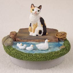"Tortoise & White Japanese Bobtail Candle Topper Tiny One ""A Day on the Lake"""
