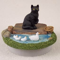 "Black Shorthaired Tabby Candle Topper Tiny One ""A Day on the Lake"""