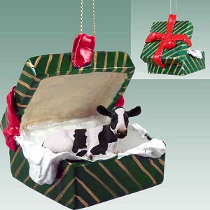 Holstein Cow Gift Box Green Ornament