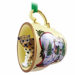 Leopard Tea Cup Snowman Holiday Ornament