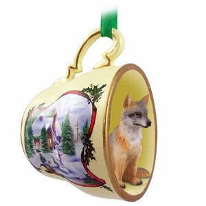 Fox Gray Tea Cup Snowman Holiday Ornament