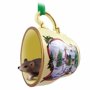 Mouse Tea Cup Snowman Holiday Ornament