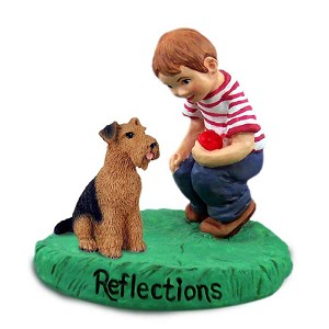 Airedale Reflections w/Boy Figurine