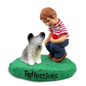 Skye Terrier Reflections w/Boy Figurine