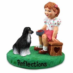 Afghan Black & White Reflections w/Girl Figurine