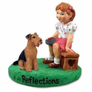 Airedale Reflections w/Girl Figurine