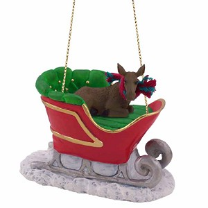 Moose Cow Sleigh Ride Ornament